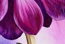 Flores  en acrílico  óleo y acuarela