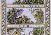 вышивка - птицы