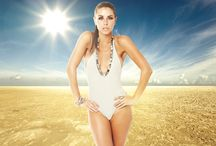 NANOTECHNOLOGY SWIMSUIT COLLECTION 2013 / An elegant swimsuit line, embellished by sophisticated jewel details; Mother Pearls or Turquoise Stones. The suits are each available in a range of three colours.