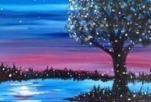 PAINT NITE PAINTINGS / As a Paint Nite Artist, I'm gathering ideas for future events!