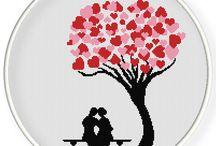 albero cuori punto croce