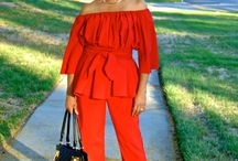 Off Shoulder Top and Pants / RED HOT FALL COMING AT YOU! www.mydailythreadz.me