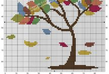 Cross stitch - color trees