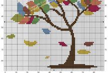 Cross stitch - color trees