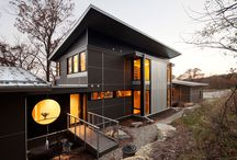Zumbro Zen by Eric Odor / The Architectural Assignment: Design of a 2400 sf, four bedroom house with a two car garage for a family of four on a dramatically descending site. The challenge was to make it a sustainable home that would sit lightly on the land.