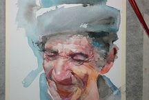 portrét akvarel