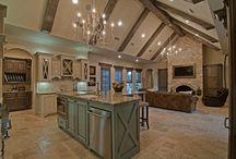Kitchen, ceilings, islands