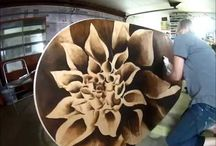 flower stained table