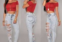 High waisted jeans fashion