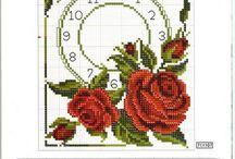 Haft krzyżykowy -zegary