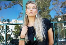 JDJ Takes the Streets / Beverly Hills Photo Shoot featuring the Chrysoprase Bar Necklace and Earring. Fall Street shoot. and Holiday shoot.