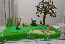 Samuel (3) en Pa Freddie (60) se verjaarsdag koek / golf course cake