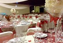 Flower ball decorations, Red and cream