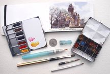 Watercolor Kits and Gear / Supplies and materials for painting in watercolor outdoors.