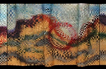 "Suzanne Donazetti / ""I was never a weaver, but one day was compelled to weave silver and that's when the adventure began. I first colored the silver or copper with chemical patinas, but the colors were not satisfying. So I experimented with different materials until I mastered the process of painting and weaving copper. My vision is to communicate with color, through the refractive lens of weaving, brief moments of light in the natural environment.""-SD / by Waxlander Gallery"
