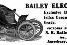 Bailey Electric Car Ads / Bailey Electric Automobiles were produced in Amesbury, MA by S.R. Bailey & Company. The Bailey Electric Victoria Phaeton is best known for beauty of design, ingenious mechanical construction and a superlative grade in handcrafted materials.  At $2,000.00 the Bailey Electric was the perfect automobile for city and suburban use in 1909.