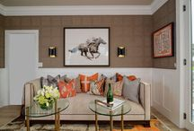KKDL Portfolio: Winemaker En Suite Salon / Cozy and sophisticated, the Winemaker's En Suite Salon, as featured in Traditional Home magazine, is a masterfully detailed space drawing in old-world elegance, equestrian accents, and fabulous function.