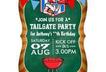 Tailgate Party Invitations/ Supplies & Favors / In America, a Tailgate Party is a social event that takes place around tailgates of vehicles. Tailgating is about drinking and barbeques for the most part, but mainly it is just having fun and showing support for one's Team or Band in parking lots, stadiums and arenas at sporting events and rock concerts.