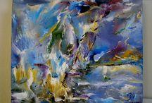 Yvonne Brøndum- Gallery art / Art. Oil on canvas, and Art on furniture.