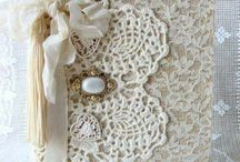 Journal covers in lace and doilys