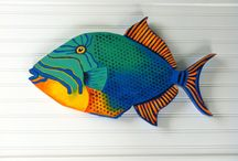 Hand painted wooden fishes