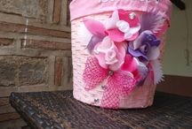 Baskets  / Special Design and Decorated with Handmade Felt Flowers