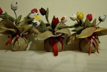 ЦВЕТЫ из ТКАНИ / Тюльпаны из остатков ткани своими руками