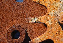 Beautiful rust work / Artwork featuring rust and stitching