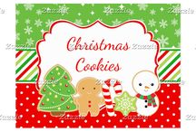 Christmas Cookies Red and Green / This collection features cute Christmas festive cookies - a christmas tree, gingerbread man, candy cane, snowflake and snowman. The background consists of bright green snowflakes, red polka dots and a red and green striped ribbon.