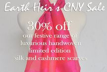 Chinese New Year 2014 Collection - SALE! 30% off our CNY Collection Silk Scarves! / Limited edition handcrafted scarves. 10% of sales to charity and 2 trees planted for each scarf purchased