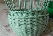 плетение из газет. внутренний бортик под крышку