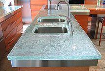 Residential * Countertops / Residential countertops; countertop materials; sustainable materials; quartz; marble; granite; recycled glass; wood; countertop designs; kitchen countertops; bathroom countertops