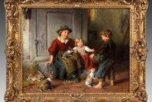 "Felix Schlesinger paintings / Felix Schlesinger (German, 1833-1910) ""Feeding the Rabbits"" Price Realized: $39,100; Felix Schlesinger (German, 1833-1910) ""Mother & daughter feeding rabbits"", Price Realized: $26,500; Felix Schleisinger (German, 1833-1910) ""Children feeding rabbits"", Price Realized: $39,100. Do you have a Felix Schlesinger painting and are thinking of selling? Contact Cottone Auctions, 585-243-1000, matt@cottoneauctions.com or visit our website: www.cottoneauctions.com"