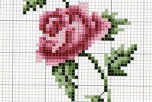 Rosa en punto cruz
