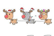 renifery mikołaje świąteczne rysunki