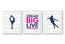 Figure Skating Rooms  for Girls / Figure skating themed bedrooms for girls and teens.  Duvet cover bedding sets, throw pillows, wall art prints, gallery wrapped canvases, shower curtains.