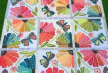 appliqued flower & butterfly quilt