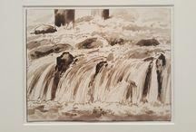 Eau / Petite chute d'eau de la rivière Isar. Franz Kobell, vers 1820