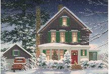Obrazki - Boże Narodzenie - Zimowe domki, domy, kościoły
