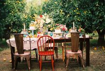 wedding oh boy oh boy wedding / edgy rustic tea party in the garden with lots of things hanging from trees mixed vintage furniture rock n' roll DIY family style nontraditional heathen feast wedding time / by Julianne Smith