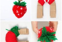 Fruit pom po s / Different shaped pom poms