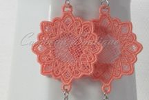 lace embroidery earrings