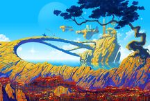 Roger Dean Art / Fantasy landscape paintings and illustrations, often for prog rock album covers for musicians like Yes