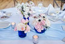 Blush Pink and Cobalt blue wedding