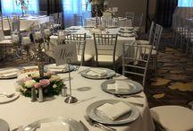 silver, grey, pink wedding
