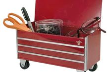 Car Guy Mini-Toolbox / Clean up the clutter on your work bench, desk, dresser etc with this Made In USA steel tool box.  Rollin' wheels (fun!), flip top and the look of the big ones out in the shop.