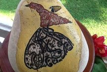 Hand painted stones & rock by Julide