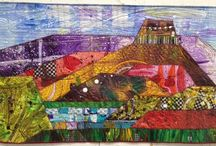 Art Quilts - Landscape exploration / Acrylic paintings cut up and reconstructed then stitched.