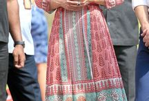 It looks like it going to be an Indian Summer / We love the floral maxi dresses, architectural prints and sari fabrics that Kates wearing. There's something positively vintage about her look. A real showcase of British and Indian design.