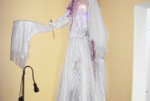 BRIDE PUPPET / Giant 10 foot bride. wire torso,tissue and material made with backpack with pupeteer hidden beneath dress.